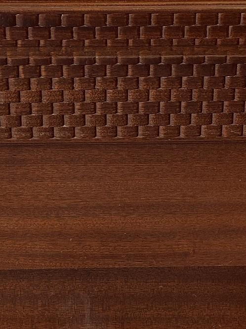 Heavy dark wood veneer dressing table stool