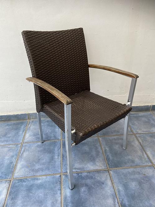 Aluminium and plastic rattan chair