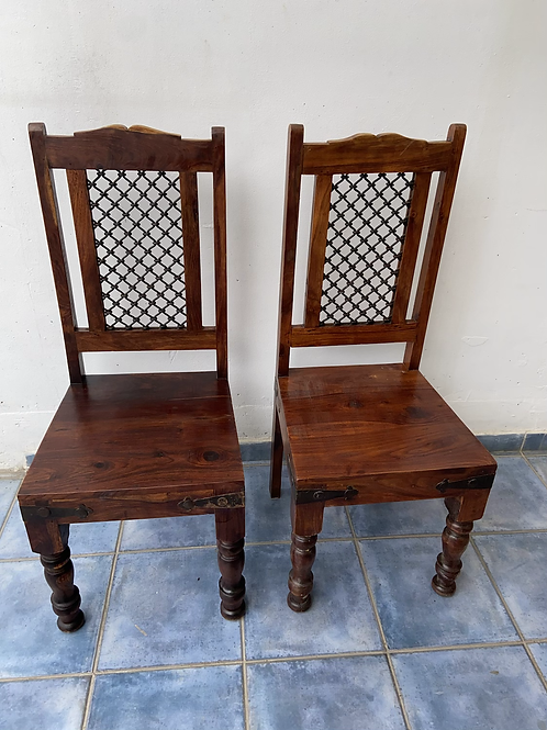 2 Indian wood chairs with metal lattice inserts €65 each