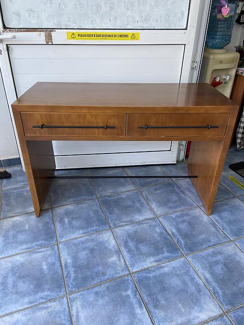 Large 2 drawer heavy wood veneer desk/dressing table