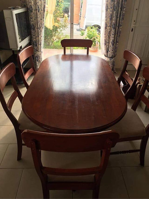 Cherrywood oval dining table and 6 chairs