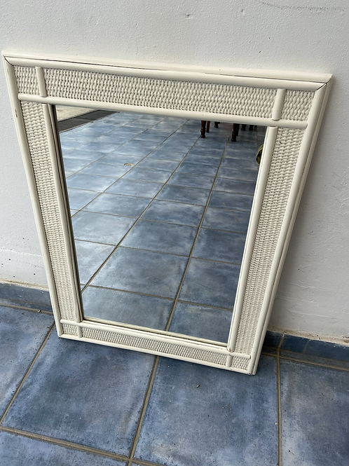 Cream painted bamboo mirror 59x77