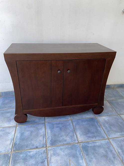 Unusual dark brown heavy wood sideboard