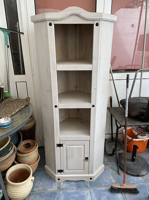 Lime washed Mexican Pine corner unit with shelving and one cupboard