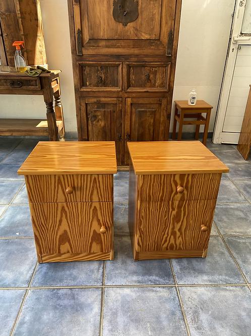 Two pine veneer 1 drawer 1 cupboard bedsides