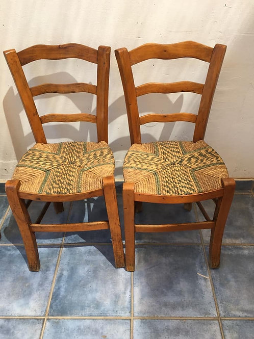 Two original traditional village rush chairs