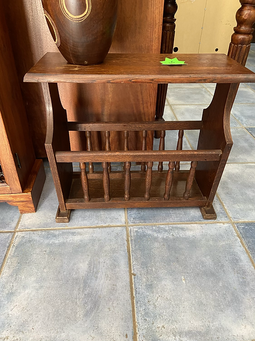 Oak side table with magazine rack