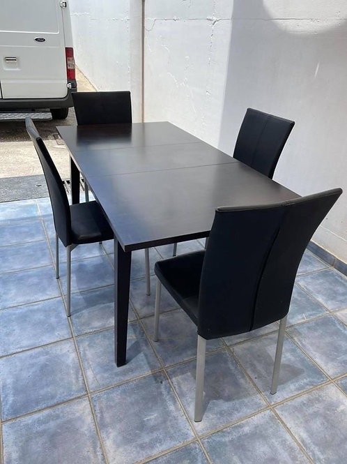 Modern black/brown extendable dining table and 4 chairs