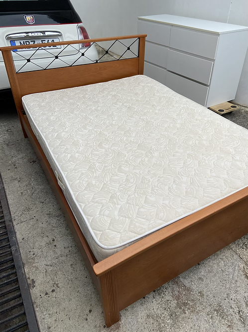 Heavy cherry wood double bed with mattress