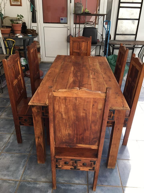 Indian wood table and 6 a unique masterpiece