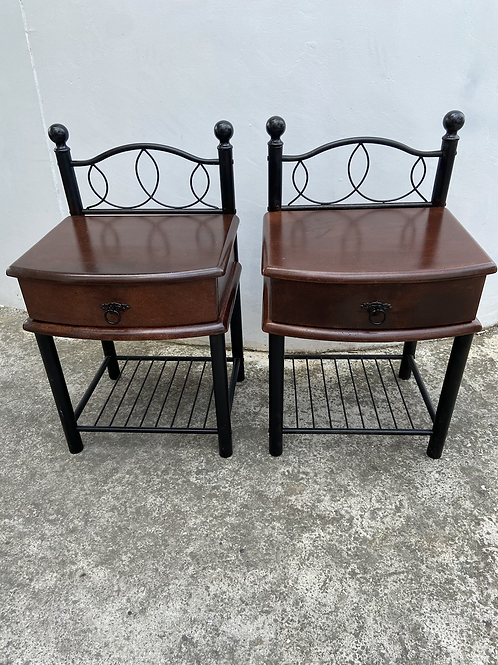 Pair of dark wood and metal frame bedsides with 1 drawer