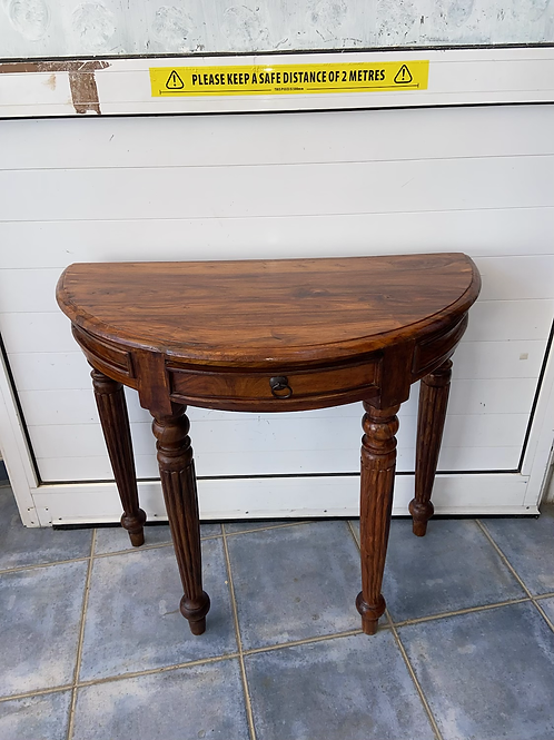 Indian wood half moon table with 1 drawer