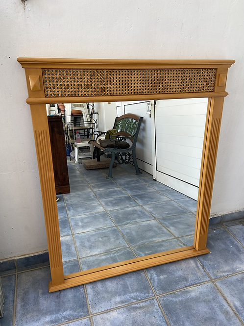 Light wood veneer mirror with lattice effect  (2 available)