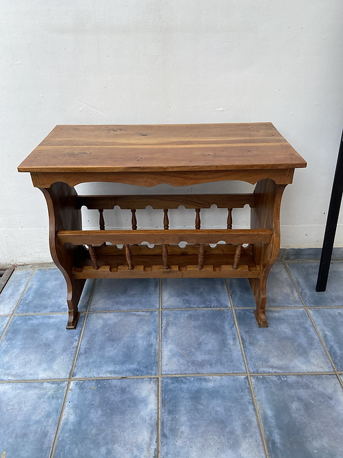 Unusual Indian wood console table/hall table with racking