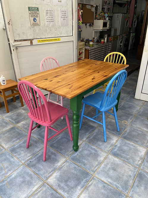 Quirky Italian pine table with green legs and 4 multicoloured pine chairs