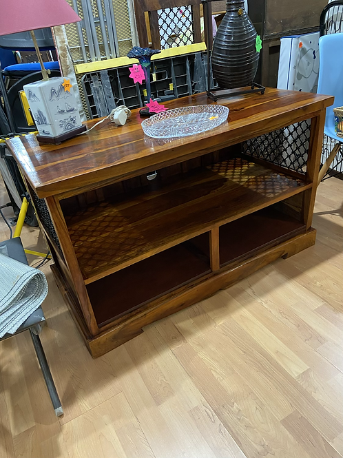 Indian wood TV unit with metal lattice sides