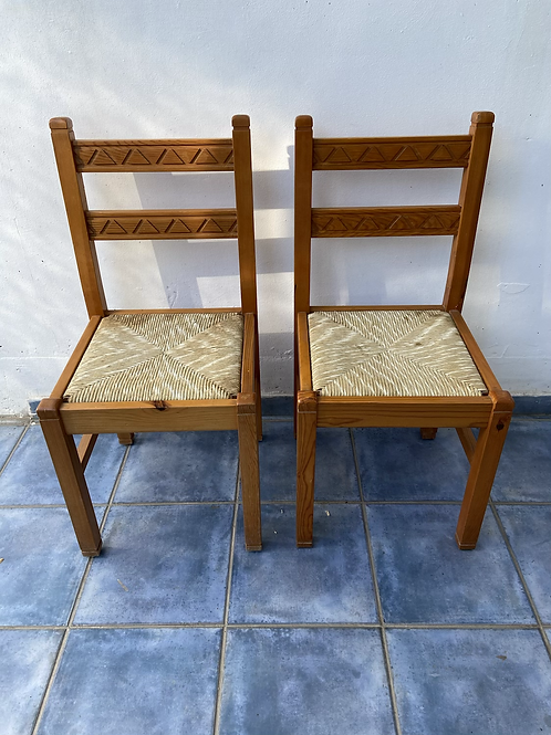 2 pine chairs with rush seat pads €20 each €35 for the pair