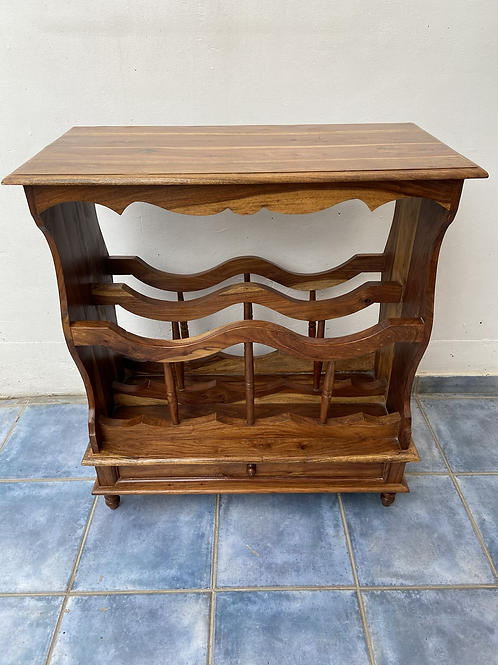 Unusual Indian wood console table/hall table with 1 drawer and racking
