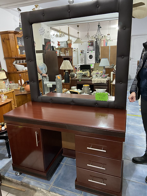 Lovely dark wood dressing table and mirror