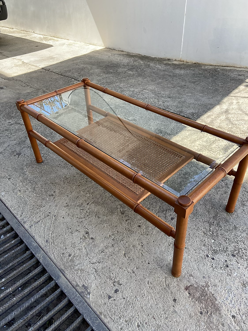 Bamboo coffee table with glass top and shelf below