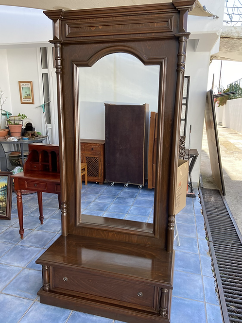 Huge dark wood mirror unit with large drawer to base