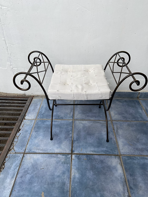 Wrought iron and fabric dressing table stool/chair