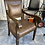 Thumbnail: Vintage dark wood library chair with studded leather