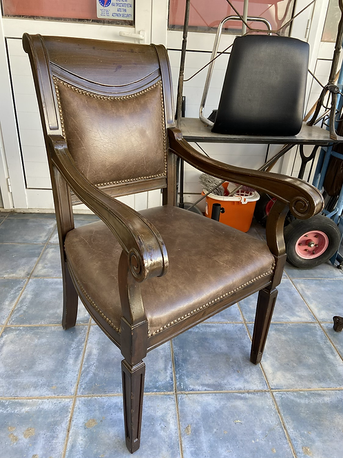 Vintage dark wood library chair with studded leather