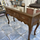 Thumbnail: Antique dark wood console table with 3 drawers and turned legs