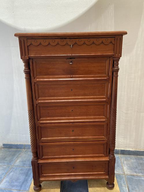 Unusual vintage pine 4 drawer unit with hidden bureau