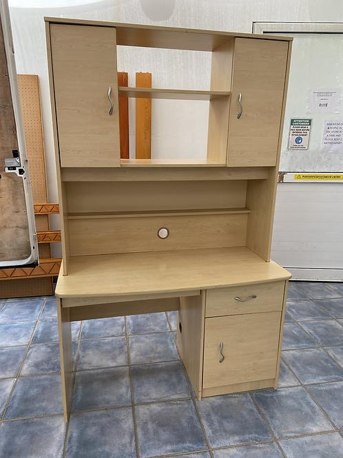 Light wood desk work station