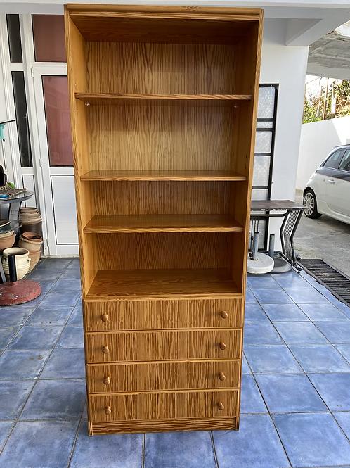 Pine veneer shelving wall unit with 4 drawers