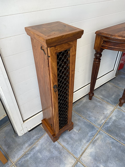 Indian wood CD (32) cabinet with metal lattice front