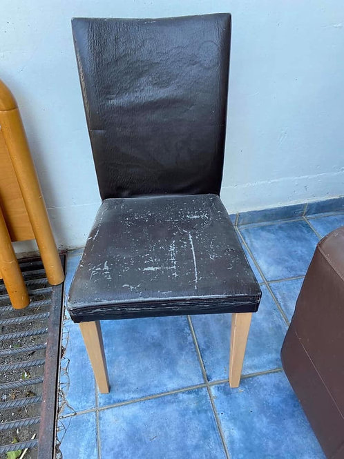 Six dining chairs excellent frames need reupholstering quick sale