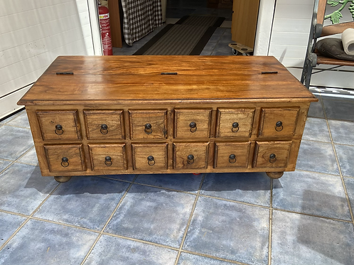 Indian wood chest coffee table with 12 drawers