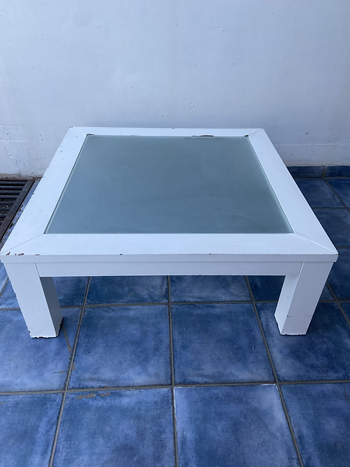 White painted table with glass inlay - ideal up cycle project