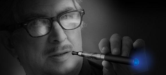 senior art director Andre van Leeuwen smoking a vaporizer