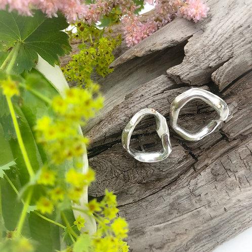 Silver Folds Earrings