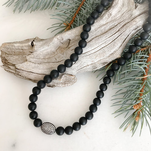 Black Onyx and Pave necklace