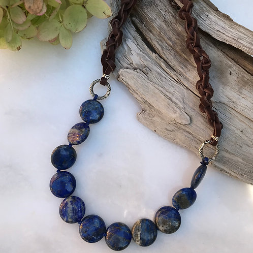 Lapis & Leather Necklace
