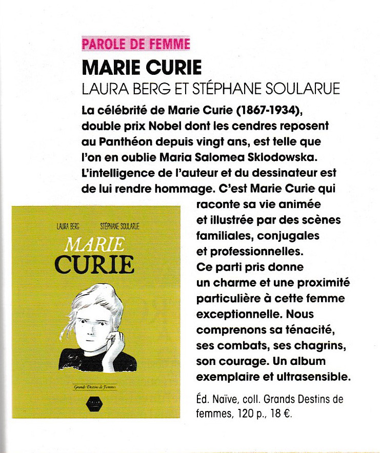 Bande dessinée Marie Curie par Laura Berg et Stéphane Soularue, éditions Naive Livres. Article paru dans Notre temps.
