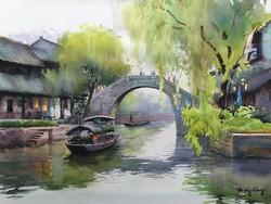 Stone Bridge and Willows