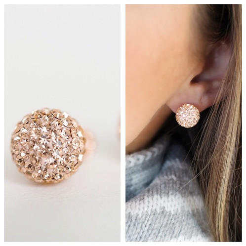 Rose Gold Crystal Ball Studs These Trendy Stud Earrings Are Made Just For You With Swarovski Crystals And Sterling Silver