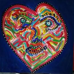 Instagram - The heart blue, acrylic on canvas, 100x100