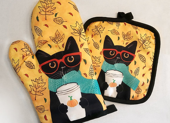 Cat Pattern Insulation Gloves and Mat Polyester Kitchen Gloves for Cooking