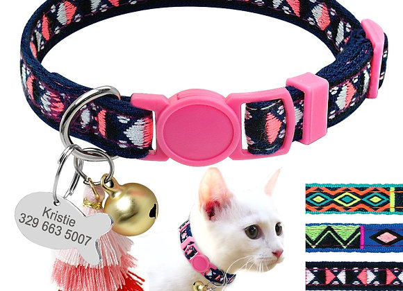 Personalized Cat Collar With Bell Customized Kitten Collars Necklace