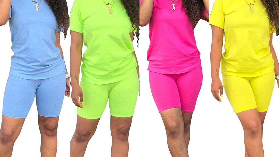 Women Solid Sporting Casual Two Piece Set Short Sleeve Tee Outfit 4 Color
