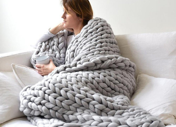 Fashion Hand Wool Bulky Knitt  Throw Blankets