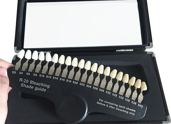 20 Colors Teeth Whitening Set 3D Shade Guide Color Comparator  Mirror Dentistry
