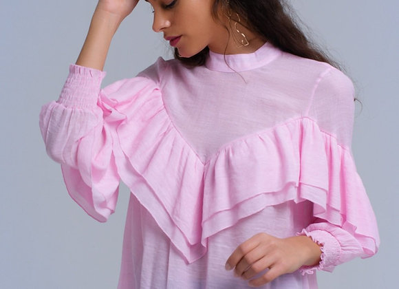 Pink Ruffled Shirt With Elastic Cuffs